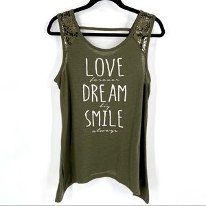 Jerryleigh Love Dream Smile Tank Top Green Large
